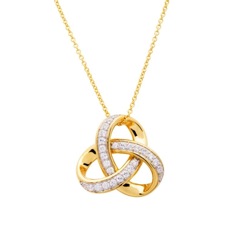 14KT Gold Vermei Trinity Knot Necklace studded with Cubic Zirconias Front