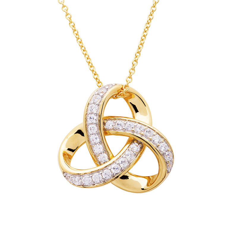 14KT Gold Vermeil Trinity Knot Necklace studded with Cubic Zirconias