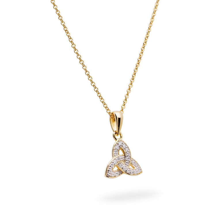 14KT Gold Vermeil Trinity Knot Necklace Studded with White Cubic Zirconias 3D Perspective