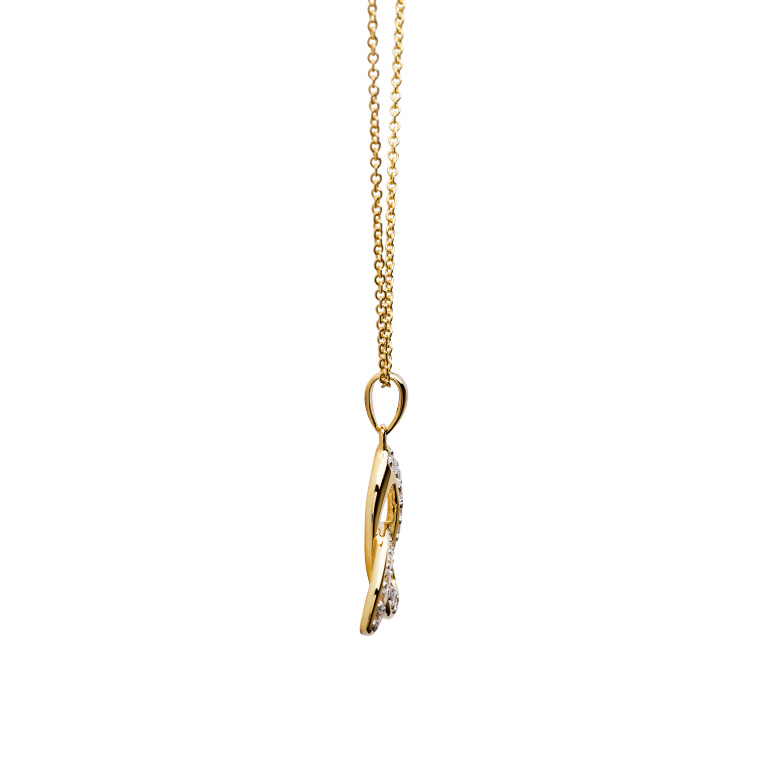 14KT Gold Vermeil Trinity Knot Necklace Studded with White Cubic Zirconias Side