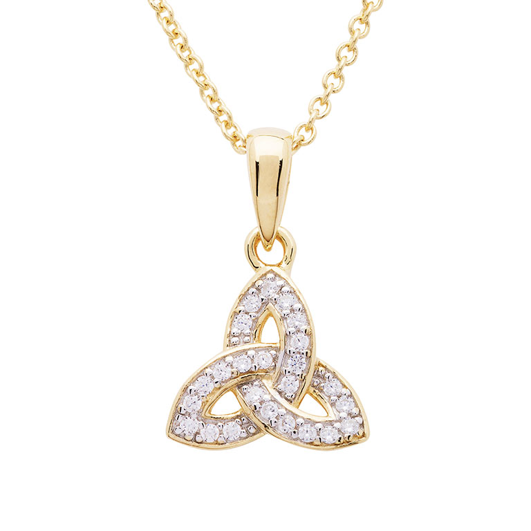 14KT Gold Vermeil Trinity Knot Necklace Studded with White Cubic Zirconias