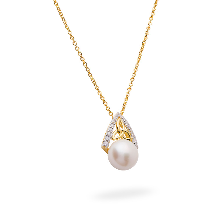 14KT Gold Vermeil Trinity Knot Pearl Pendant Studded with White Cubic Zirconias 3D Perspective