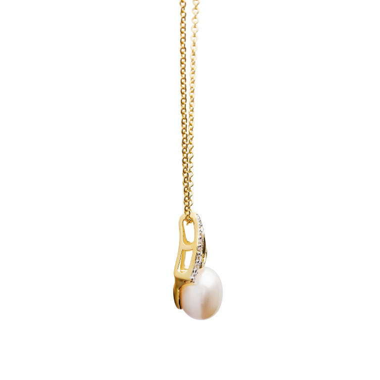 14KT Gold Vermeil Trinity Knot Pearl Pendant Studded with White Cubic Zirconias Side
