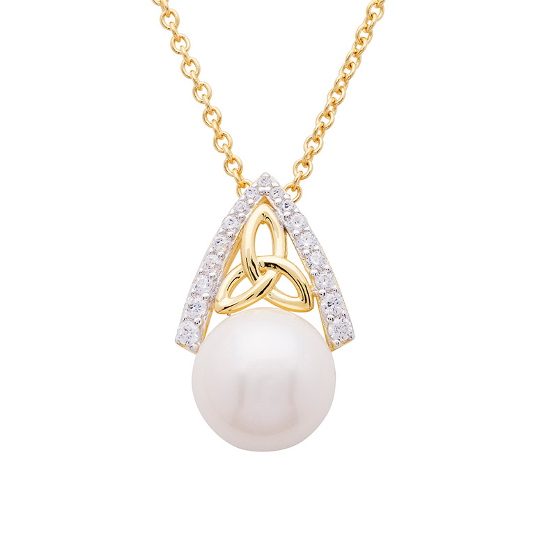 14KT Gold Vermeil Trinity Knot Pearl Pendant Studded with White Cubic Zirconias