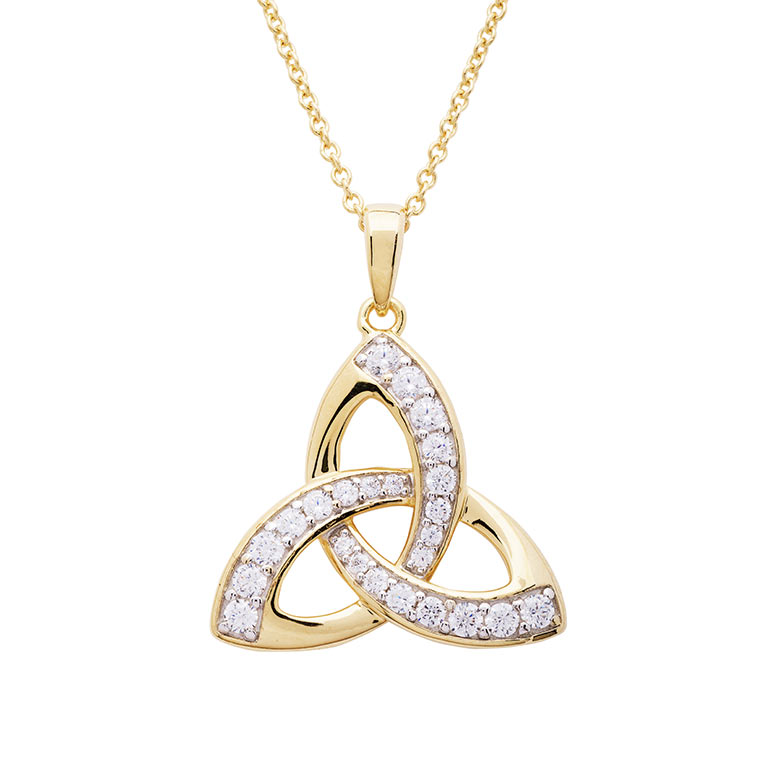 14KT Gold Vermeil Trinity Knot Pendant Studded with White Cubic Zirconias