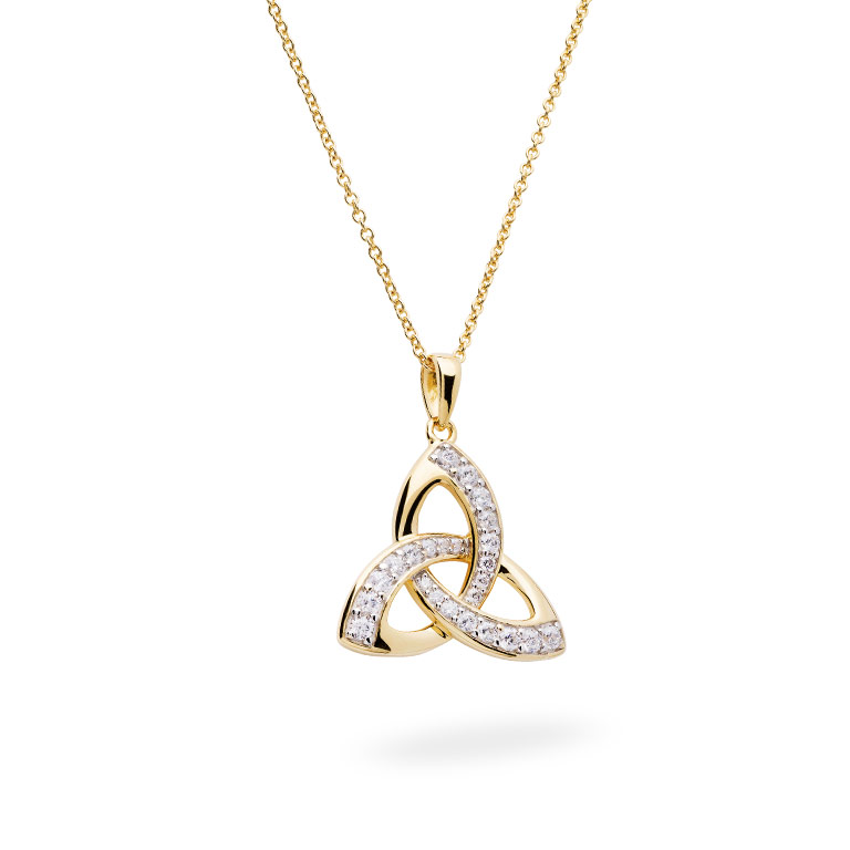 14KT Gold Vermeil Trinity Knot Pendant Studded with White Cubic Zirconias 3D Perspective