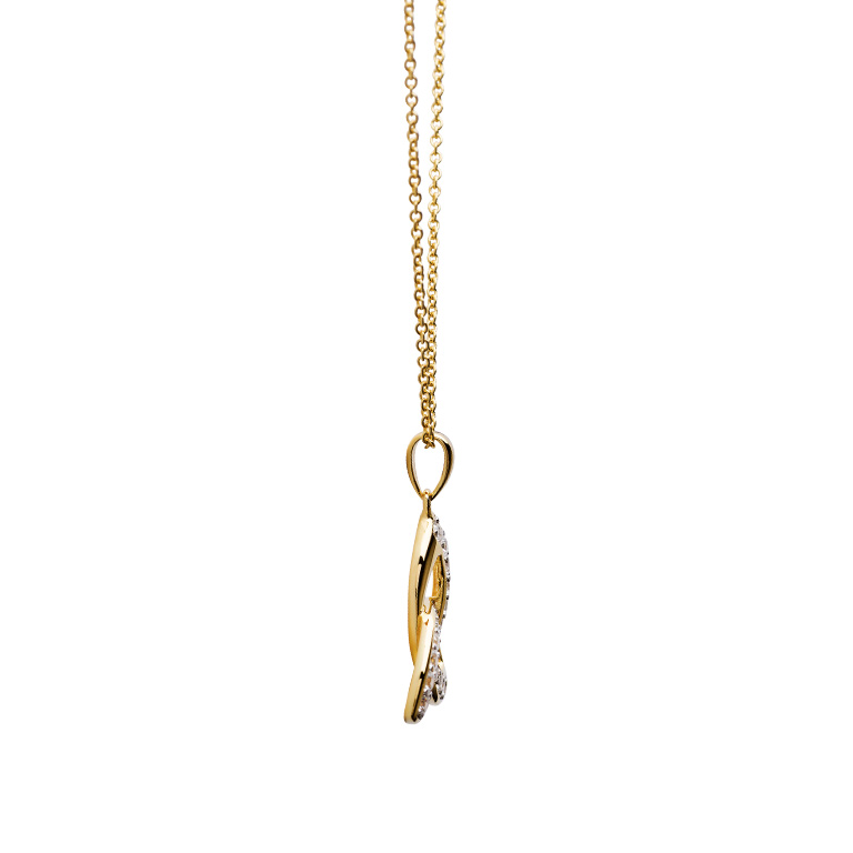 14KT Gold Vermeil Trinity Knot Pendant Studded with White Cubic Zirconias Side