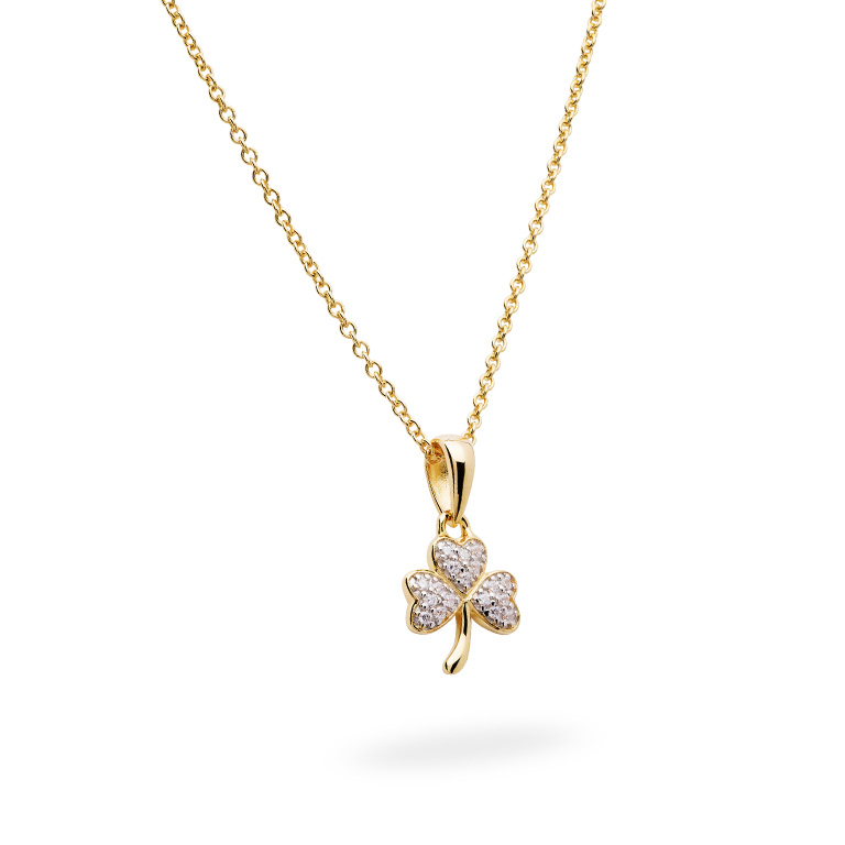 14KT Gold Vermeil Shamrock Necklace Studded with White Cubic Zirconias 3D Perspective