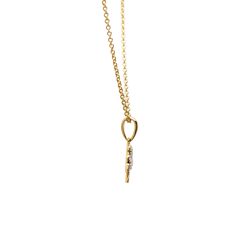 14KT Gold Vermeil Shamrock Necklace Studded with White Cubic Zirconias Side