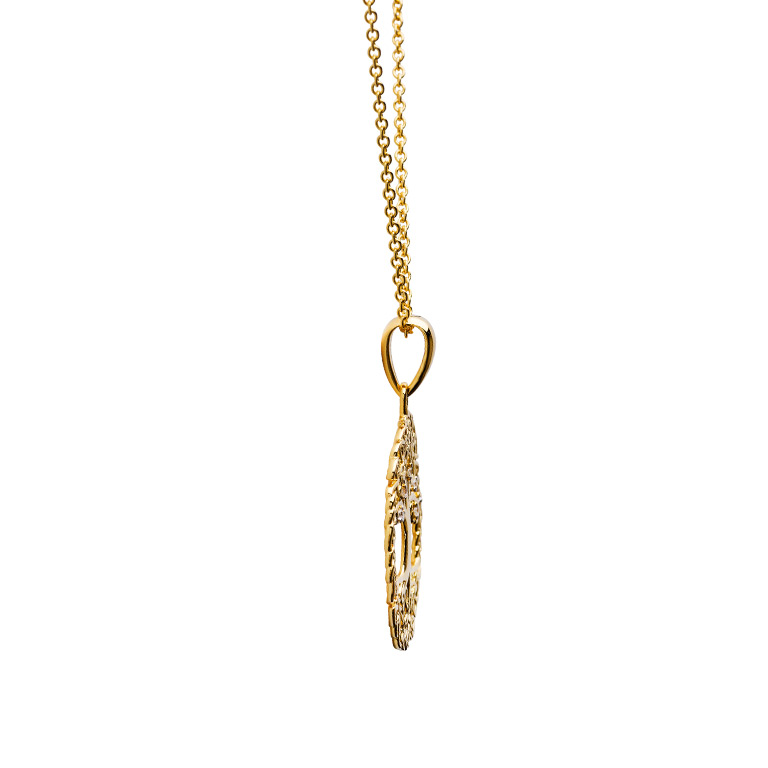 14KT Gold Vermeil Celtic Tree of Life Necklace Embelished with With Cubic Zirconias Side