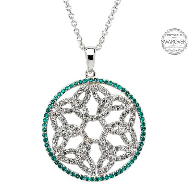 Trinity Knot Circle Necklace With Emerald Swarovski Crystals