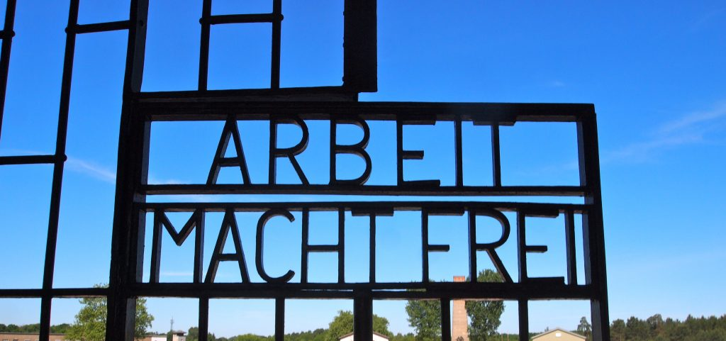 the gate to Sachsenhausen, photo by Sally Burnette