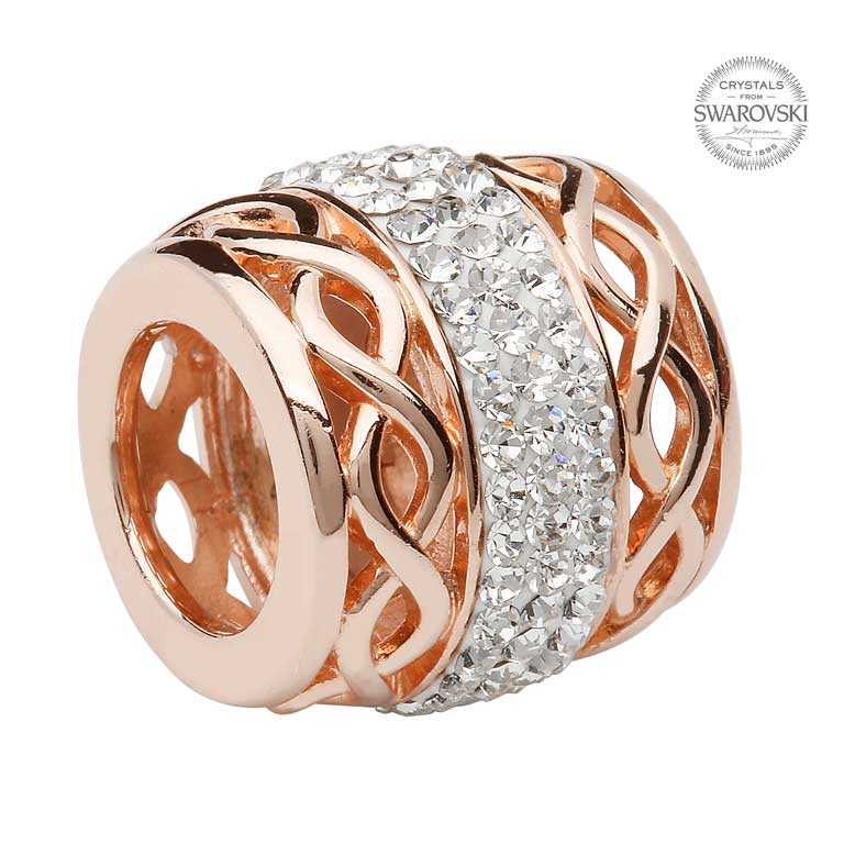 Celtic Rose Gold Plated Bead Encrusted With Swarovski Crystal