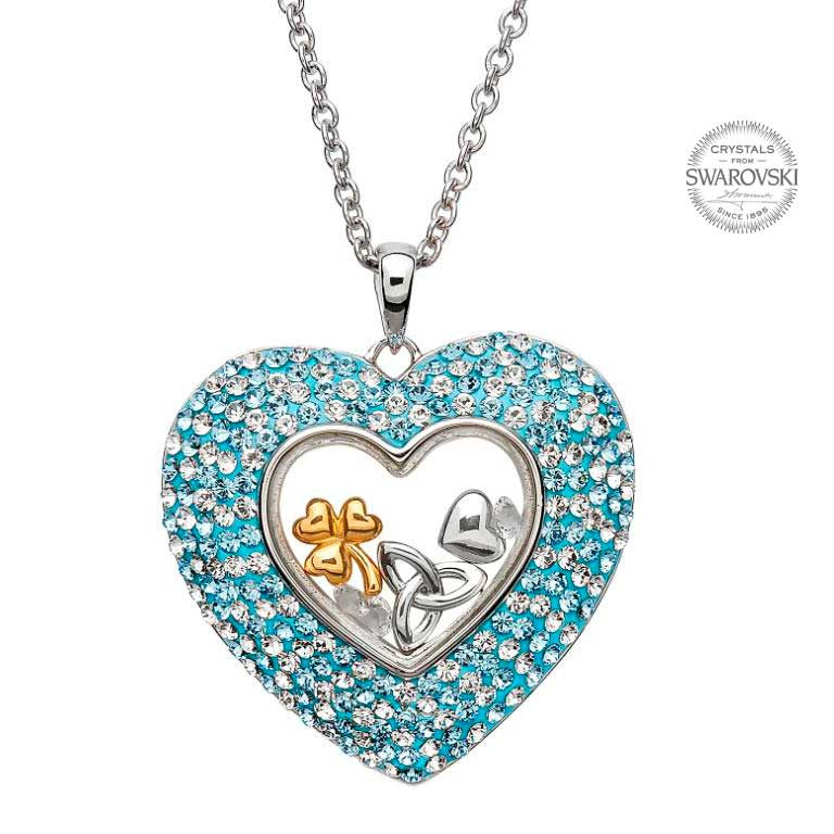 Heart Necklace Encrusted With Swarovski Crystals