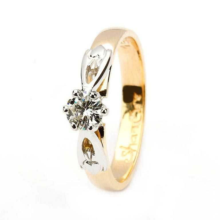 Claddagh solitaire diamond 14k yellow and white gold ring round cut