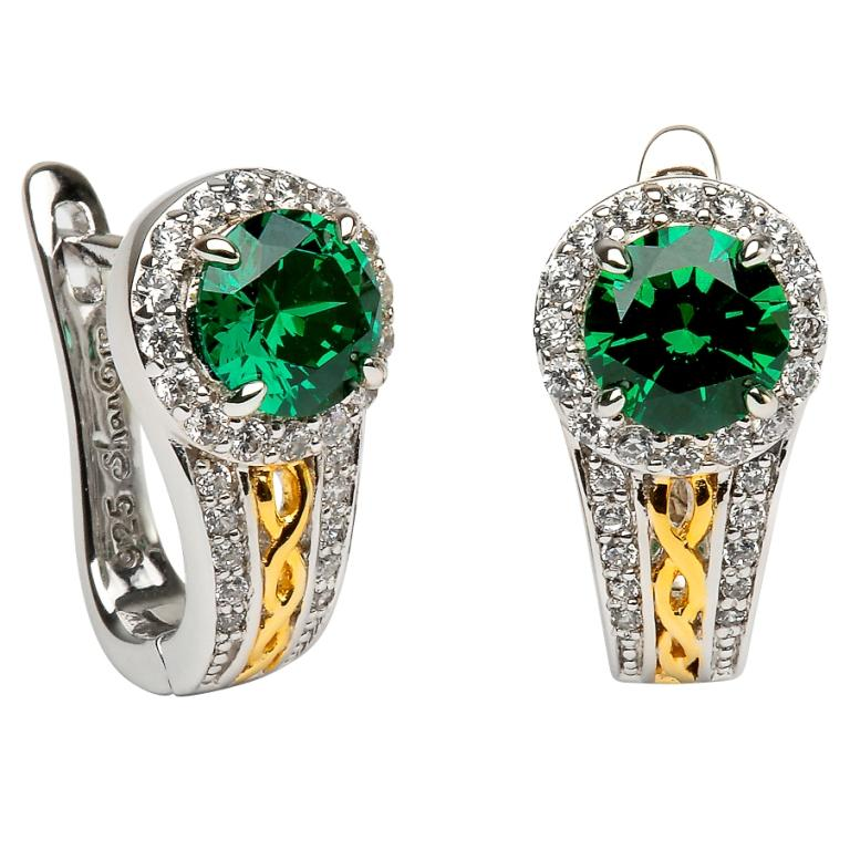 Silver Green CZ halo Celtic Knot Earrings