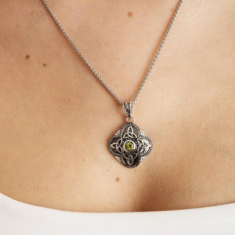 Celtic Tribal Silver Stone Set Trinity Necklace