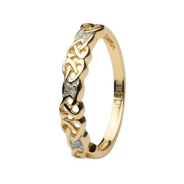 Ladies Celtic Design Diamond Set Ring