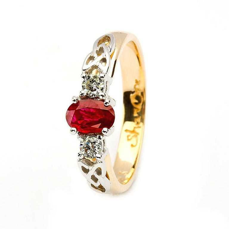 Oval Ruby and Diamond Celtic Trinity 14K Yellow and White Gold 3 Stone