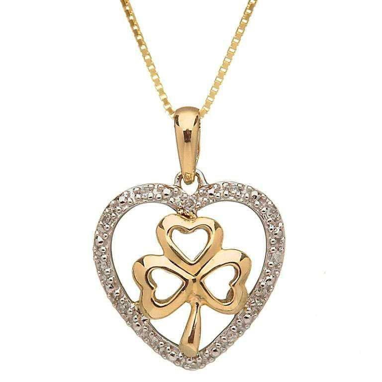 10 Karat Gold Shamrock Diamond Set Pendant